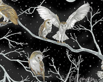 Nocturne Owl Black Silver Night Tree Branches Hoffman Fabric Yard
