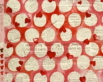 Kokka Heart Newsprint - Half Yard - Linen - Japanese Import - Kawaii