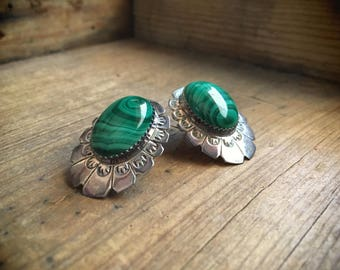 Vintage Navajo Larry Sandoval concho earrings silver malachite, Native American Indian jewelry, green earrings, Mothers Day gift for mom