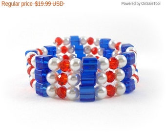 Patriotic Bracelet Red White and Blue Bracelet Stack 4th of July Made in USA Independence Day Gifts for All American Girls Teens and Tweens