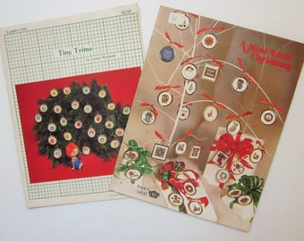 Two Christmas Ornament Cross Stitch Chart Booklets - Tiny Trims and A Mini Little Christmas