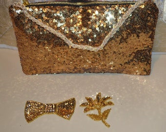 Sequin bag, Sequin Clutch, Sequin Makeup Bag, Gold sequin bag, Bridesmaids gift, evening bag, sequin bag, gift for her, Gold wedding bag