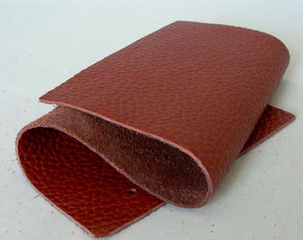 Full Grain Pebbled Ruby red  Leather Scrap