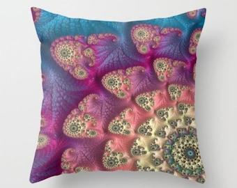 CELEBRATION fractal design decorative throw pillow - home decor - dorm decor - turquoise, magenta, blue scatter cushion, indoor or outdoor