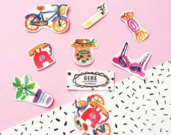 SALE Gems WATERPROOF Sticker Pack -Set of 7 - Vinyl Stickers - Hand Drawn Sticker - Handmade Sticker - Gems Sticker - Object Sticker