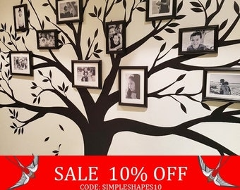 Sale - Wall decal, Family Tree Wall Decal - Photo frame tree Decal - Family Tree Wall Sticker - Living Room Wall Decals - wall graphic