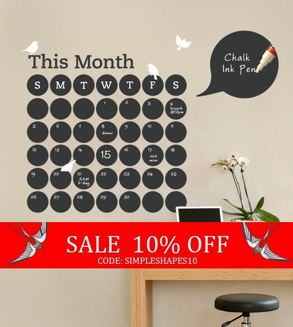 Sale - Daily Dot Chalkboard Wall Calendar - Vinyl Wall Decal
