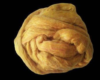 Yellow Sari Silk Roving Upcycled Recycled For Spinning Felting Fibre Crafts