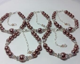 Brown Pearl Bridesmaid Bracelet