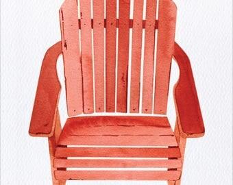 Adirondack Chair Unframed Watercolor Art Print