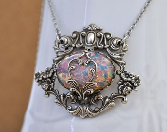 ENCHANTED FOREST antiqued silver Victorian style floral necklace with vintage pink opal glass cab