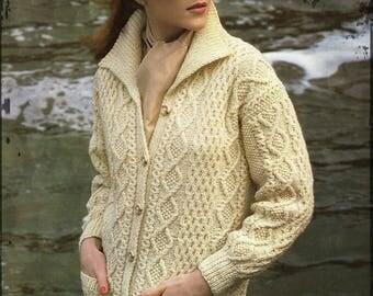 Knitting Pattern Aran Knit Ladies Cardigan/Jacket - Sizes 33 to 41 in bust PDF Download