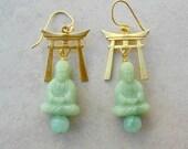 Buddha Earrings, Shinto/Zen, Light Green German Lucite Buddhas & Brass Toriis