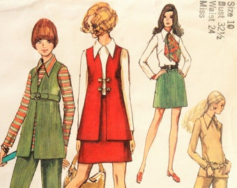 1970s Skirt, vest, blouse, pants pattern, mod retro, vintage sewing pattern Carnaby Street, Simplicity 8924 misses size 10, bust 32 1/2""