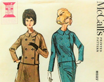 1960s Suit pattern, double breasted jacket, raglan sleeves, slim or A line skirt, vintage sewing pattern McCalls 7055 misses size 16 bust 36