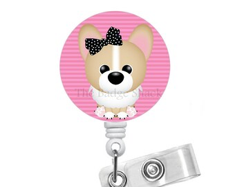 Corgi Badge Reel - Badge Holder - Dog Badge - Vet Badge Reel - Nursing Badge - Teacher Badge Reel - Veterinarian Badge - Vet Tech Badge