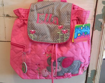 Personalized monogram girl pink elephant Stephen Joseph quilted backpack,diaper bag,baby shower gift,toddler girl birthday gift