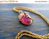 Mothers Day SALE A Small Pink Hug. OOAK Pink Tourmaline Slice Set in Unique 14K Gold Hug. Also Available: Delicate 14K Gold Necklace. Recycl