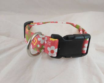 Girly Pink Dog Collar, Cat Collar, Funky Collar,  Summer Dog Collars, Les Fleurs Dog Collar,Collier de chien, collar de perro,