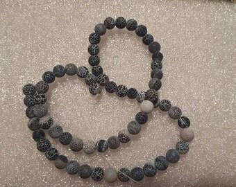 1 strand black Dragon Vein 6mm Beads-Approx 60 beads