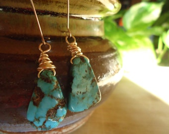 Turquoise Drop Earrings - Genuine Turquoise Earrings, Wire-wrapped Turquoise, Sterling Silver Earrings, Protection