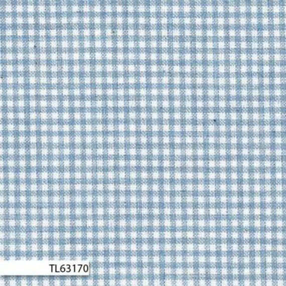 Lecian Melange Cotton Yarn Dyed Fabric - Light Blue Check