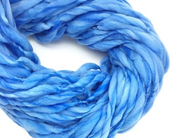 Super bulky handspun yarn, thick and thin in hand dyed blue merino wool - 59 yards, 3.45 ounces/ 98 grams