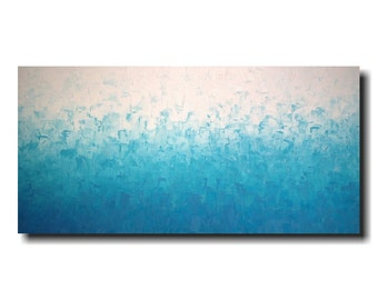 Original Large Abstract painting - 24 X 48 Inches-by Artist JMJartstudio-Fresh- blue painting Wall art-wall decor --Oil painting