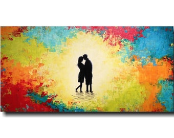 Art Abstract painting Pallet Knife painting Landscape on canvas 24 x 48 Custom