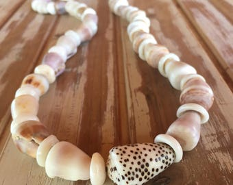 One of a kind heirloom colorful all natural Molokai puka and cone shell lei or necklace
