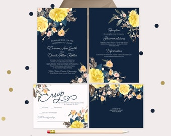 Navy Wedding Invitations · printable wedding invitations · beautiful floral yellow and peach watercolor (207)