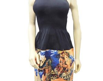 "US Handmade Fancy DRESS With ""Aztec  "" Pattern, Cotton Fabrics, Uni-Size, Fits; S, M, L, XL, New"