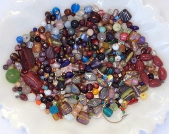 Bead Soup, Glass Beads, Bead Lot, Indian and Chinese Beads, Bargain Beads, 10 oz