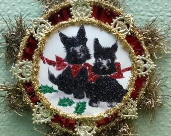 Handmade Victorian or Vintage Look Christmas Ornament-Scotty Dogs,German Dresdens,Vintage Tinsel,Vtg Reflector,German Tinsel