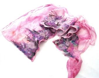 Candy nuno felt scarf luxury silk fashion pastel Pink long Bohemian clothing boho wedding