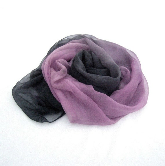 Pink Grey long hand painted scarf silk fashion ombre mousseline luxury feminine gift for women, custom order