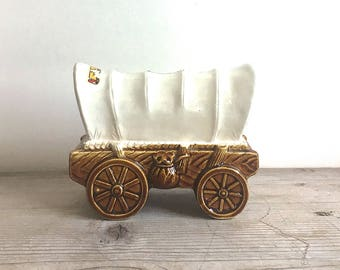 Vintage Ceramic Covered Wagon Bank Made In Japan  Little House On The Prairie