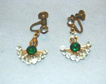 Vintage / Earrings / Rhinestone / Green / Clear / Dangle / Drop / Gold / Tone / old / jewellery / jewelry