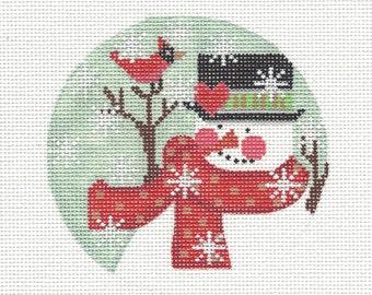 """4"""" Round Snowman & Red Bird CHD47 Hand Painted Needlepoint Canvas"""