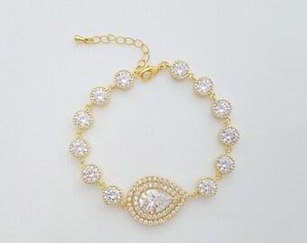 Crystal Wedding Bracelet, Gold Bridal Bracelet, Bridal Jewelry, Teardrop Crystal Gold Wedding Bracelet, Joni Bracelet