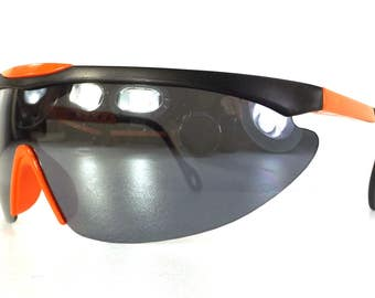vintage 80s deadstock shield razor blade style sunglasses oversized wrap around mirror matte neon orange plastic lightweight black NOS b100
