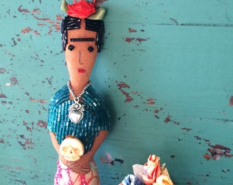 Frida Kahlo Doll - Frida Kahlo Art Doll - Frida Doll - Folk Art Inspired - Frida Ornament - Folk Art Doll - Mexican Folk-Art Inspired