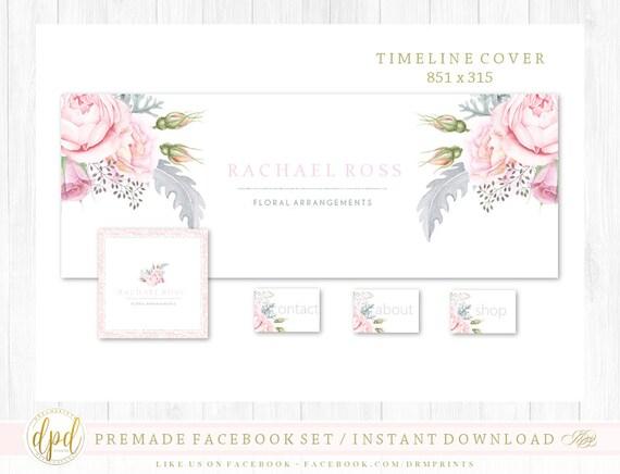 Premade DIY Facebook Set | Facebook Timeline | Facebook Package | Facebook Graphics | Business Branding | INSTANT DOWNLOAD-HR923