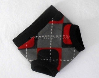 Extra Large Valentine Mod Argyle Fleece Diaper/Underpants Cover/Soaker XL, Red Black White Gray Grey Check, Vegan Valentine's Day
