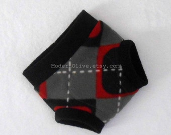 Medium Valentine Mod Argyle Fleece Diaper/Underpants Cover/Soaker, Red Black White Gray Grey Check, Ready to Ship Vegan Valentine's Day