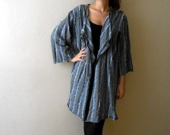 Boho Woman Jacket Long Striped Cardigan Jacket Long Sleeve Asymmetric Boho Sweater Jacket
