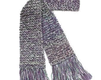 Purple Scarf, Multicolor Spring Scarf, 6 ft Long Knit Scarf, Women Knitted Scarf, Chunky Knit Scarf, Lavender and White