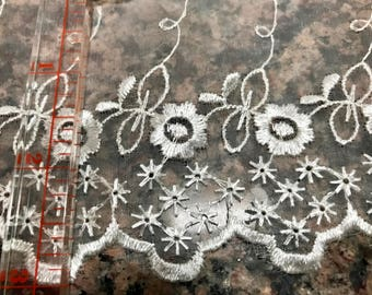 10.6 Yards Cream Flat Embroidered Lace Trim Bridal Doll Sewing