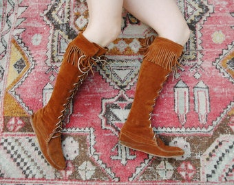 Womens Size 7 Tall Brown Suede Moccasins Boots Boho Hippie Festival