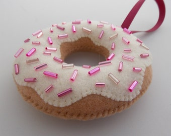 Glazed Donut Ornament With Pink Sprinkles